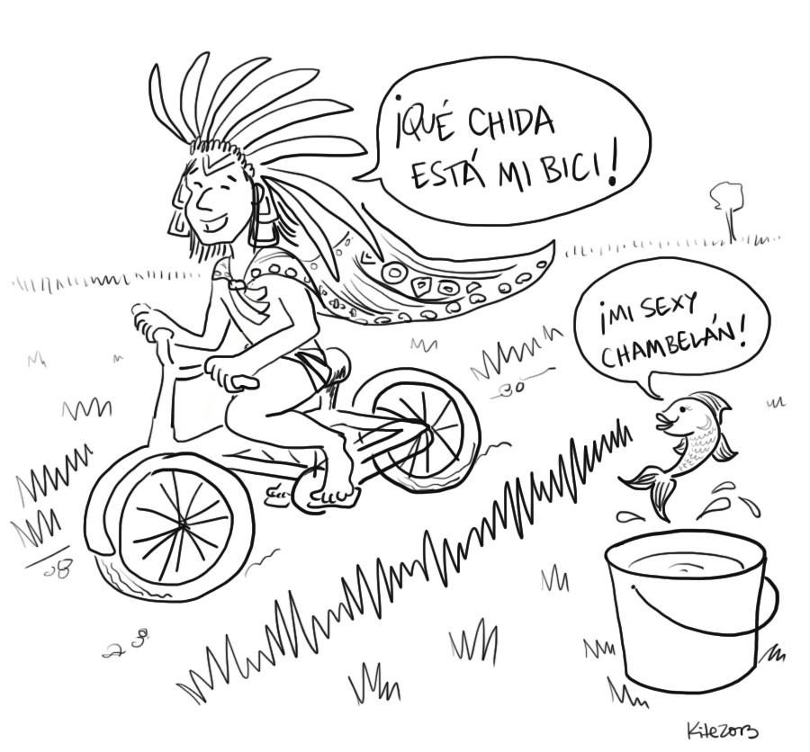 Un azteca en bicicleta